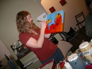 Kendra Dixson (Smith) painting acrylics
