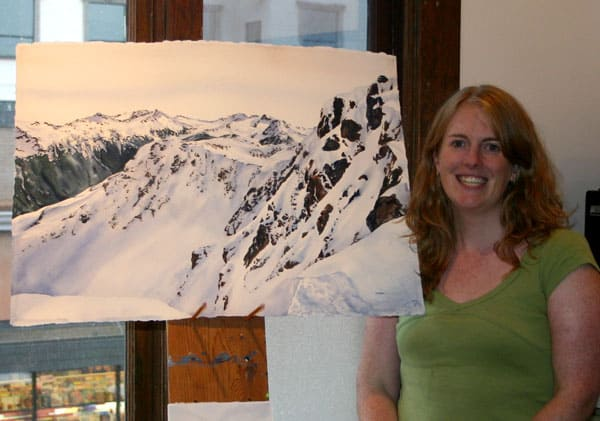 "Kendra Dixson (Smith) with her first full sheet watercolour ""Dropping In"""