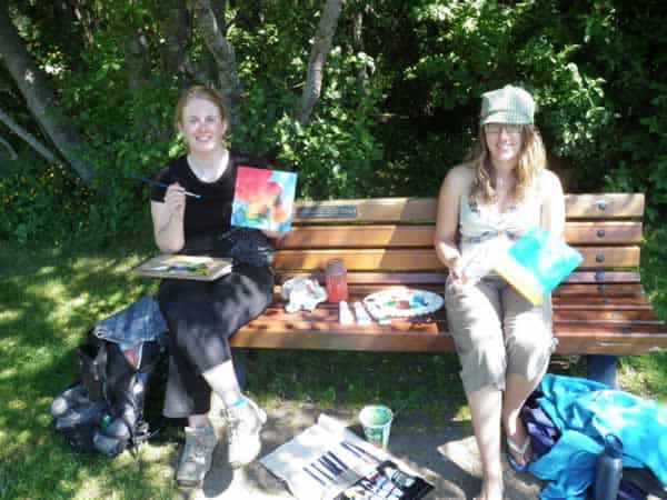Keya White and I painting canvases for the Whistler Art Workshops on the Lake fundraiser