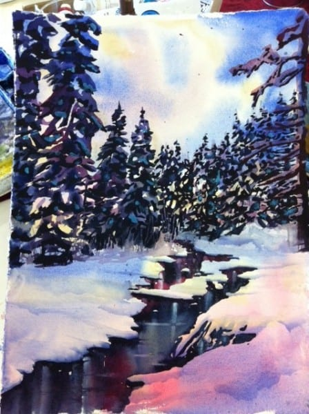 Watercolour Winter Stream Step 4