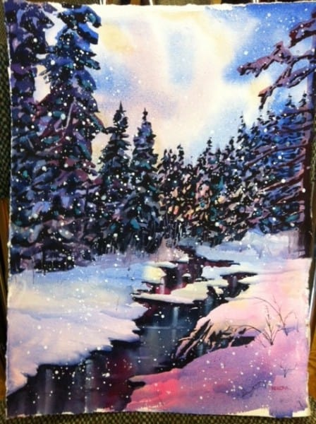 Watercolour Winter Stream Step 6