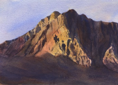 Fernie Ghostrider, Original Painting of Mount Hosmer by Kendra Smith Dixson, copyright 2002
