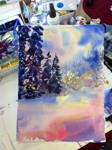 Watercolour Winter Stream Step 1