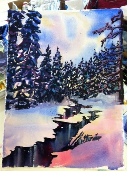 Watercolour Winter Stream Step 3