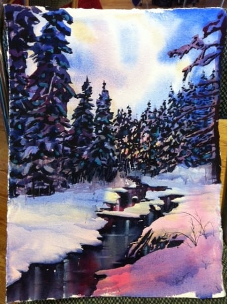 Watercolour Winter Stream Step 5
