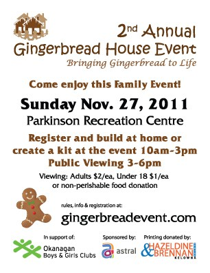 Gingerbread House Event handbill Come enjoy this Family Event Nov 27, 2011 at Parkinson Rec Centre