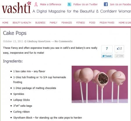 Vashti Online Digital Magazine - Recipe for Cake Pops - link